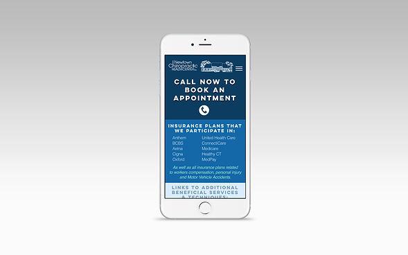 Chiropractor website closeup mobile view