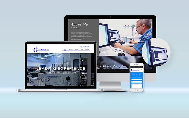 Guba MACS Inc. website on desktop, laptop, and mobile view