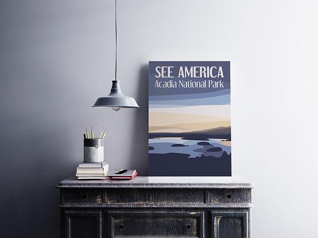 Acadia National Park poster leaning on modern desk