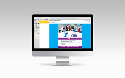YMCA Maintain Don't Gain email to members on desktop computer