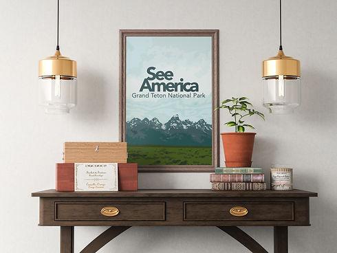 Grand Teton National Park poster hanging in living room