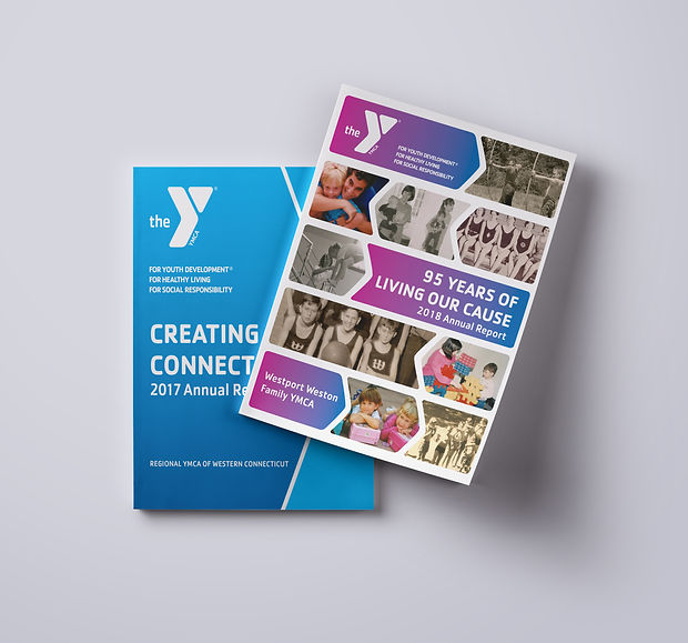 Front covers of Regional YMCA and Westport CT YMCA Annual Reports