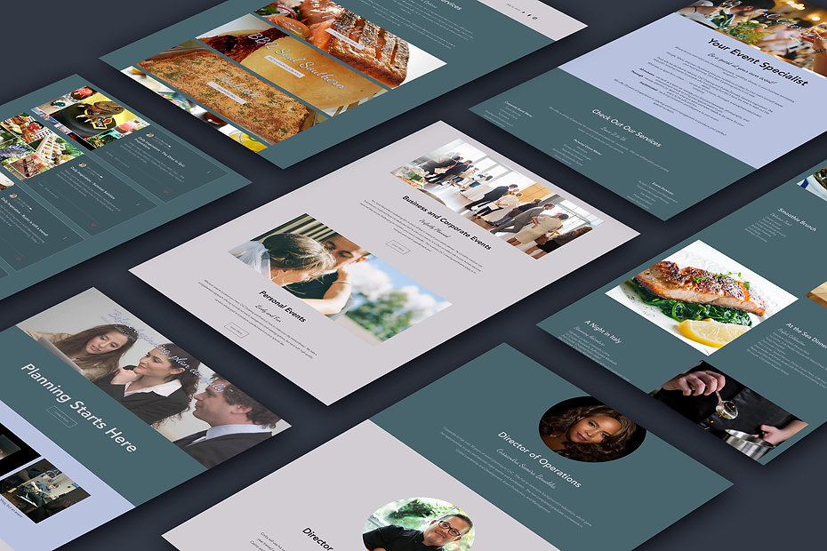 Event planning and catering website pages
