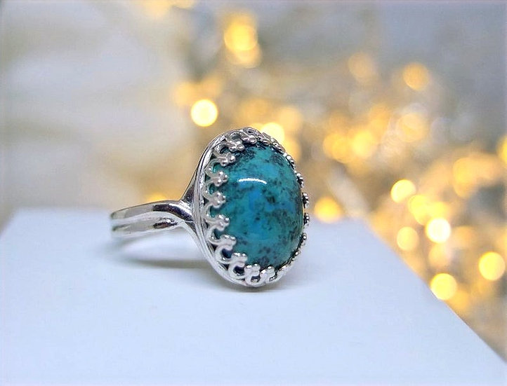 Sterling silver adjustable ring with chrysocolla cabochon