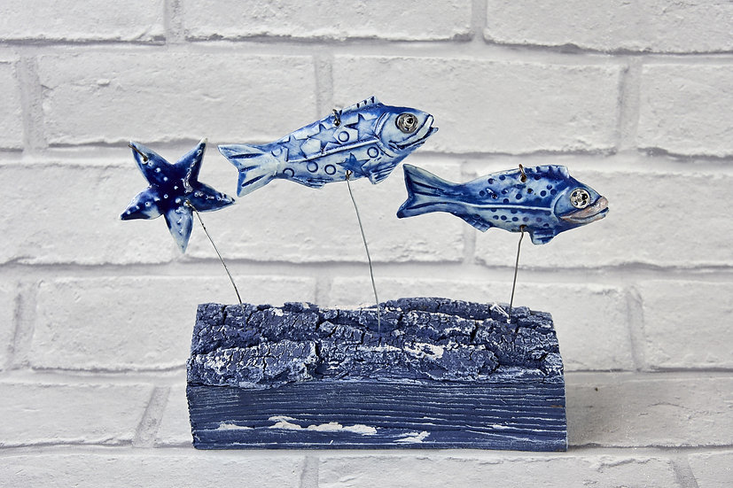Ceramic Fish on a Log