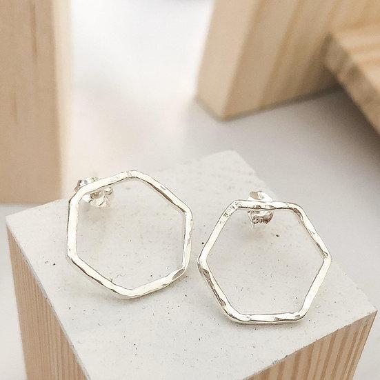 Hammered Sterling Silver Hex Earrings