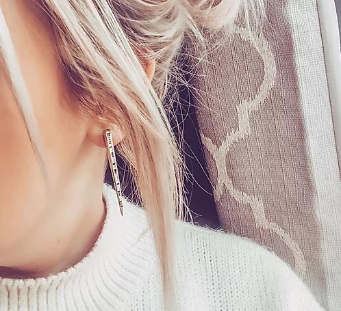 Hand Stamped Mandala Fork Tine Stud Earrings