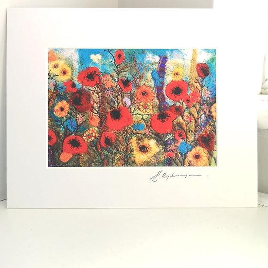 Wild Flower Field Mounted Print
