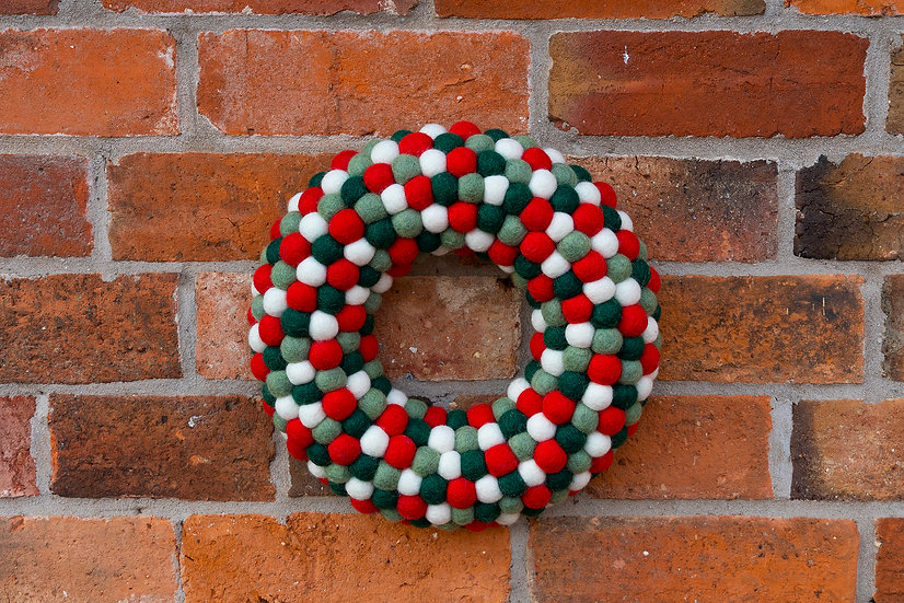 Festive Felt Ball Wreath