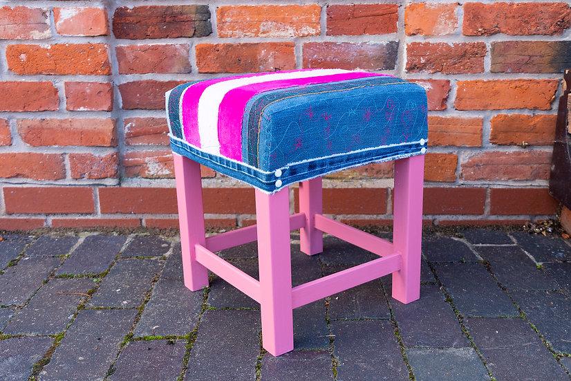 Pink/Denim  Stool