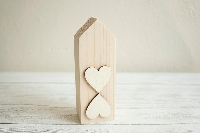 Twin heart wooden house