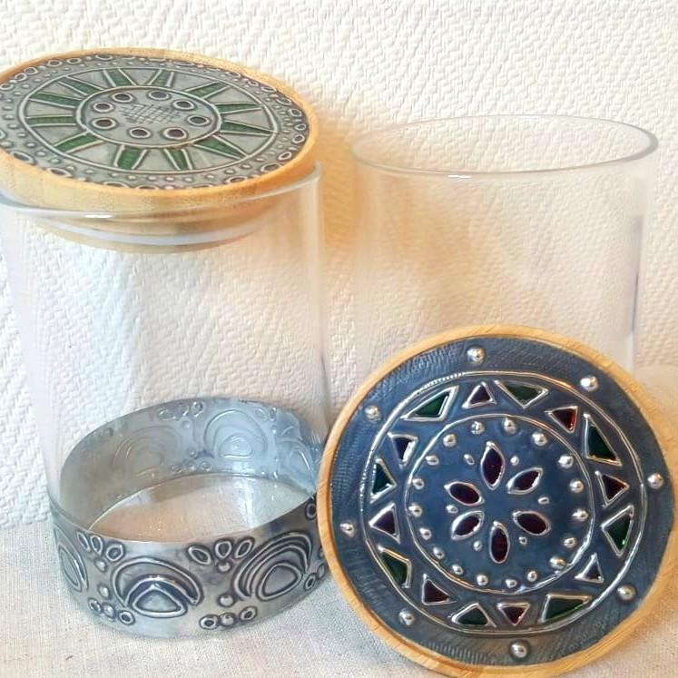 Pewter glass jars