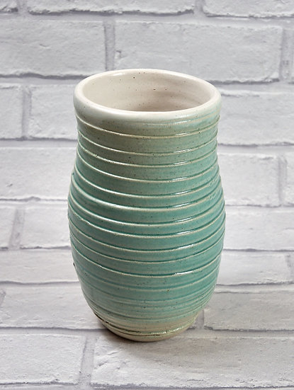Medium Green Ribbed Vase