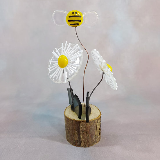Fused Glass Daisies and Bumble Bee