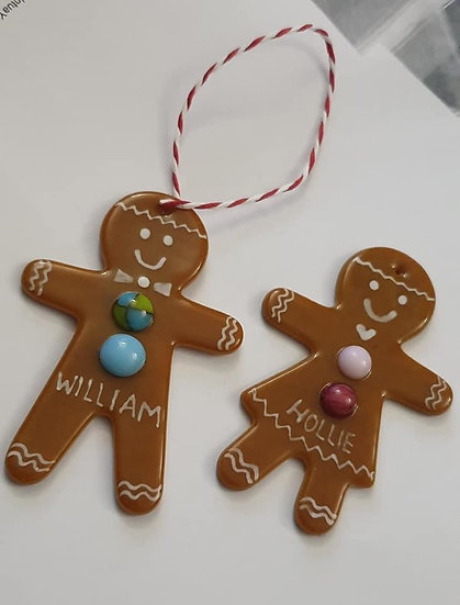 Personalised Fused Glass Gingerbread Person