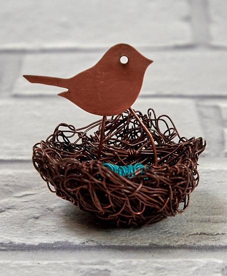 Wire Nest with Copper Bird
