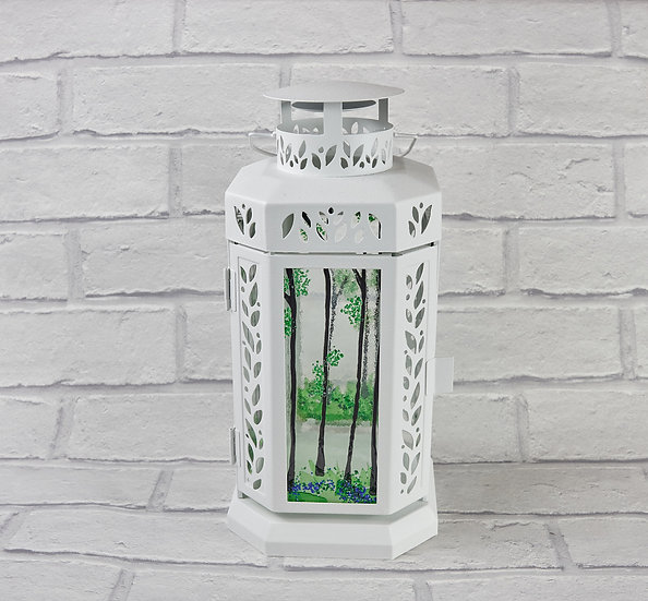 Lantern with Fused Glass