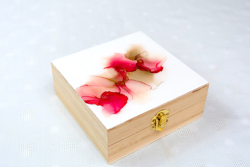 Wooden Square Box with Alcohol Ink Design