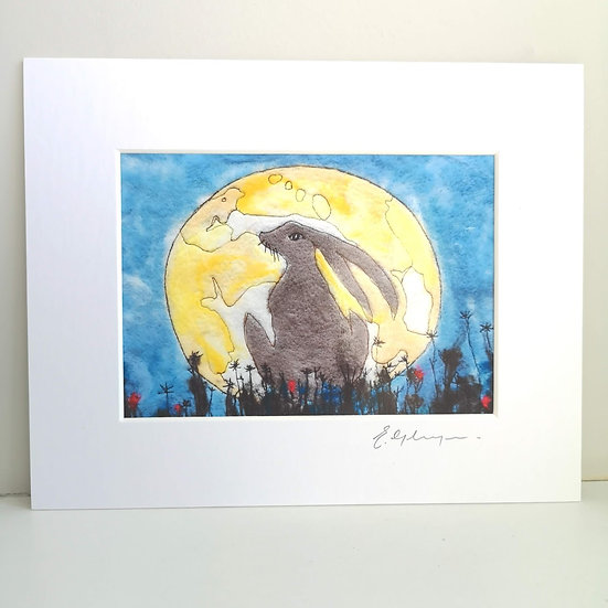 The Magical Hare Mounted Art Print