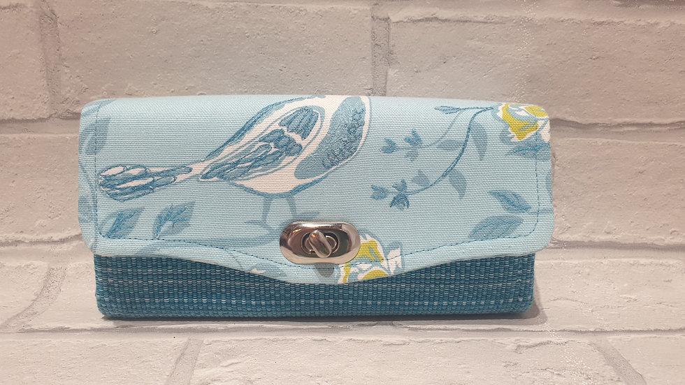 Blue bird clutch wallet