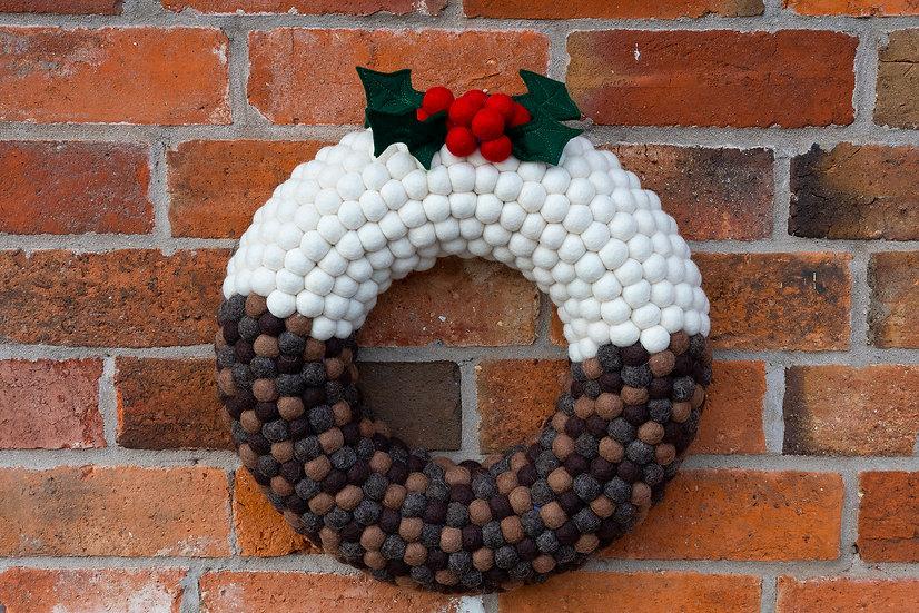 Christmas Pudding Wreath - Feltball Wreath - Christmas Wreath - Modern Wreath -