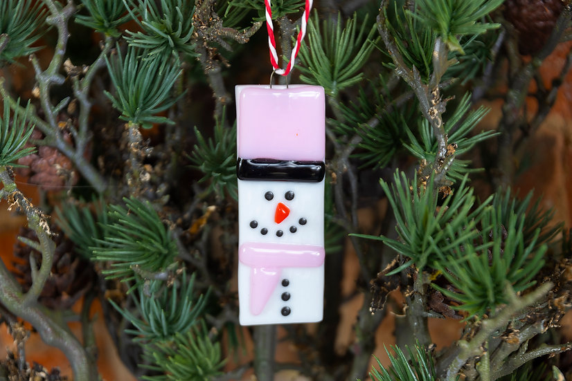 Hanging Snowman Fused Glass Decoration