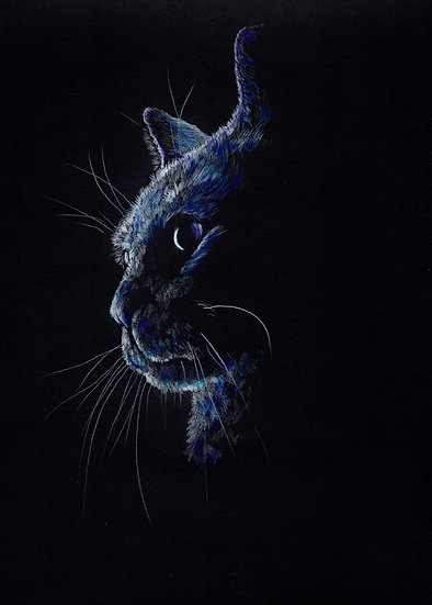 Greeting Card-Blue Cat