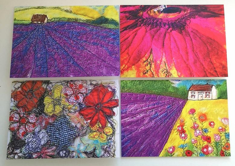 Lavender Landscape Set of 4 Greeting Cards