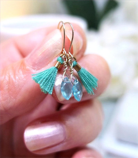 Sterling silver earwires with apatite briolettes and mini green tassels