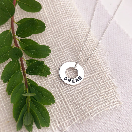 Hand Stamped Mini Washer Necklace