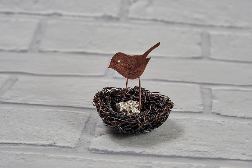 Recycled Copper Wire Birds' Nest Sculpture