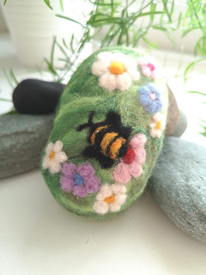 Felt Soap with Bee and Flower Detail
