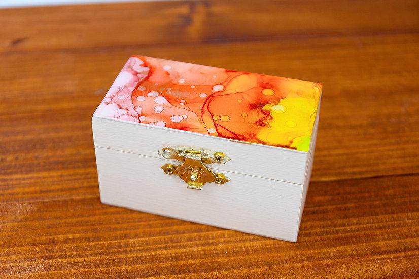 Small Alcohol Ink Wooden Keepsake Box