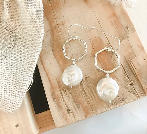 Sterling Silver Hex Pearl Drop Earrings
