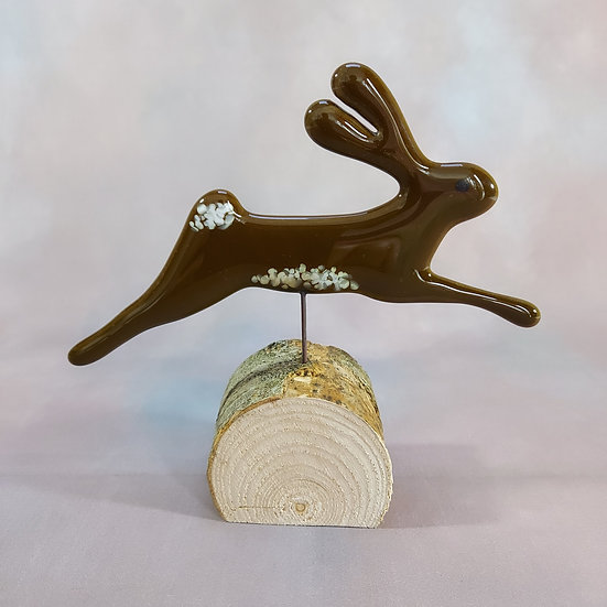 Fused Glass Leaping Hare