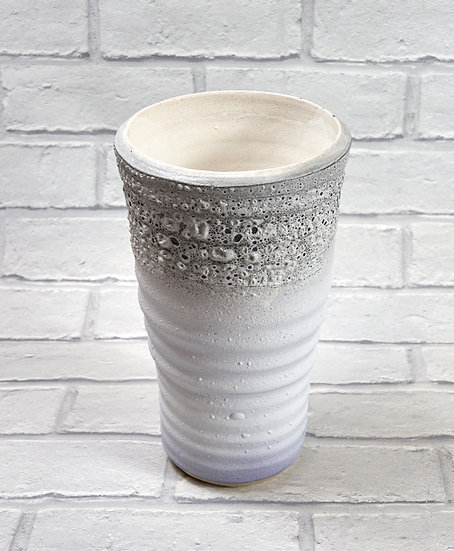 White Lace Top Ribbed Vase