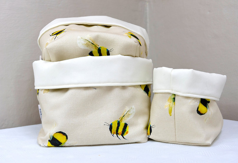 Bits and Bobs Bags - Cream Bumble Bees