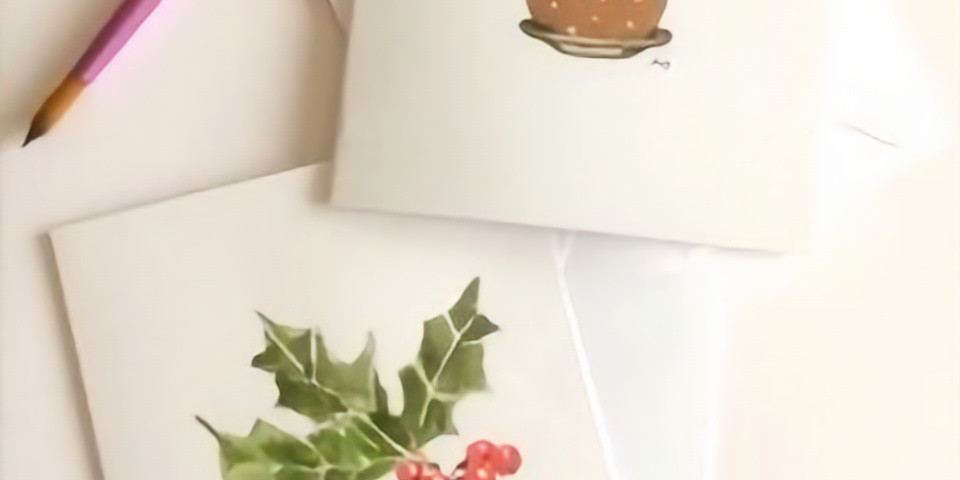 Beginners Christmas Watercolour Wreath and Christmas Cards (1)