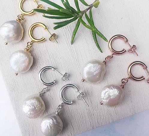 Sterling Silver Three-Quarter Hoop Pearl Drop Earrings