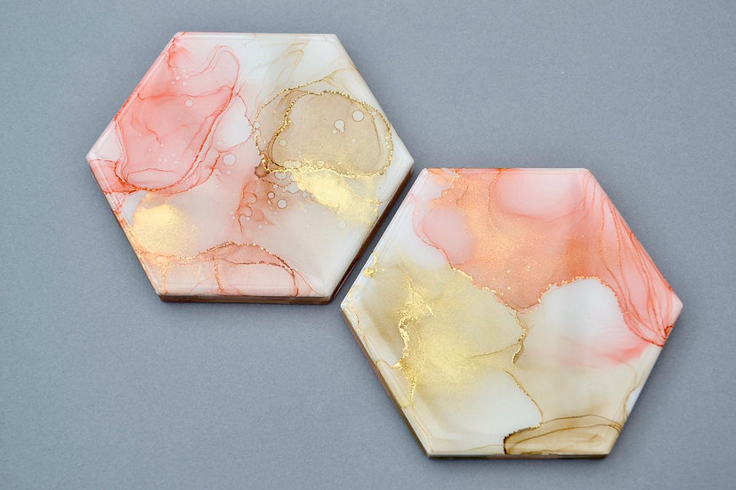 Pack of 2 coasters - Peach gold