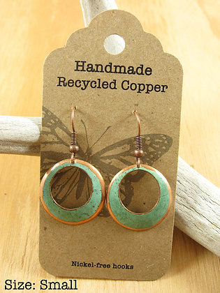 Copper Earrings, Circular, Green Patina