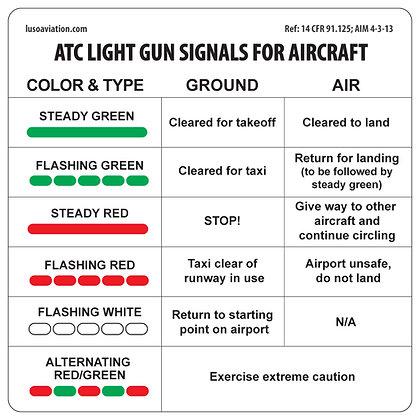 Placard, ATC Light Gun Signals For Aircraft