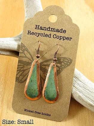 Copper Earrings, Teardrop, Green Patina