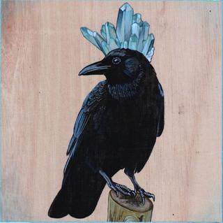 Crow & Fuschite in Quartz | Sold