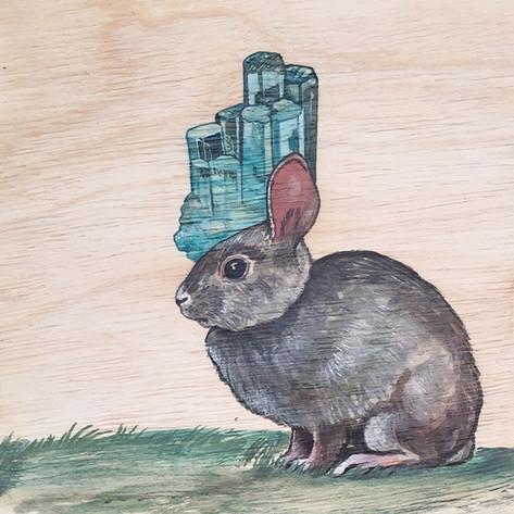 Rabbit & Aquamarine | Sold