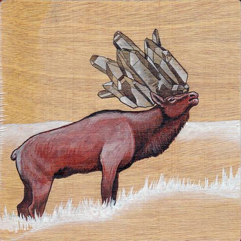 Roosevelt Elk & Smokey Quartz | Sold