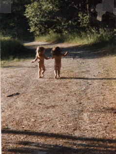 Ali and Devin running from bedtime