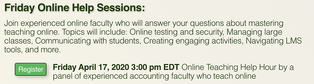 Friday Online Help Sessions