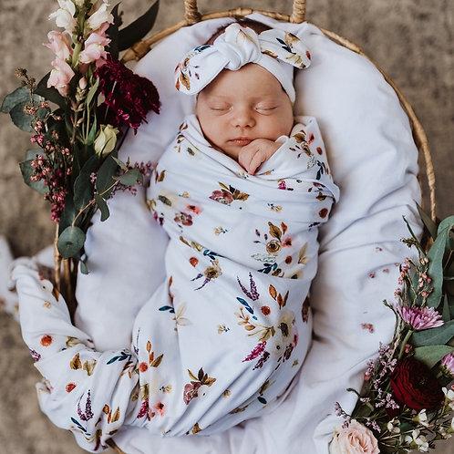 Boho Posy I Baby Jersey Wrap & Topknot Set