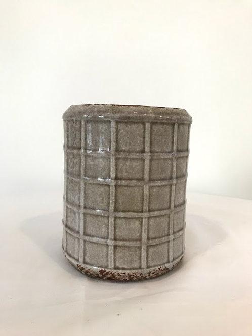 Vaso ceramico G tom rosê formato cilindrico